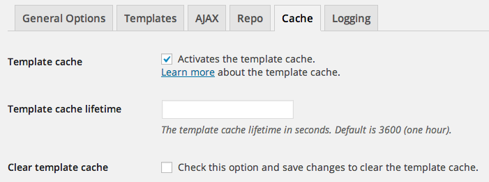 Template cache options