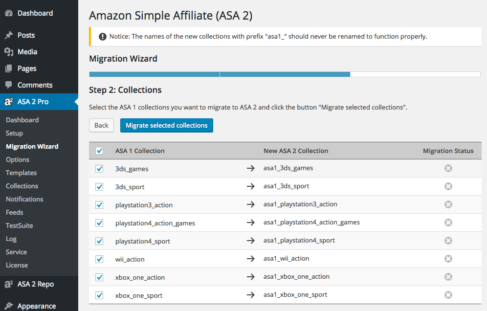 ASA 2 Migration Wizard Collections