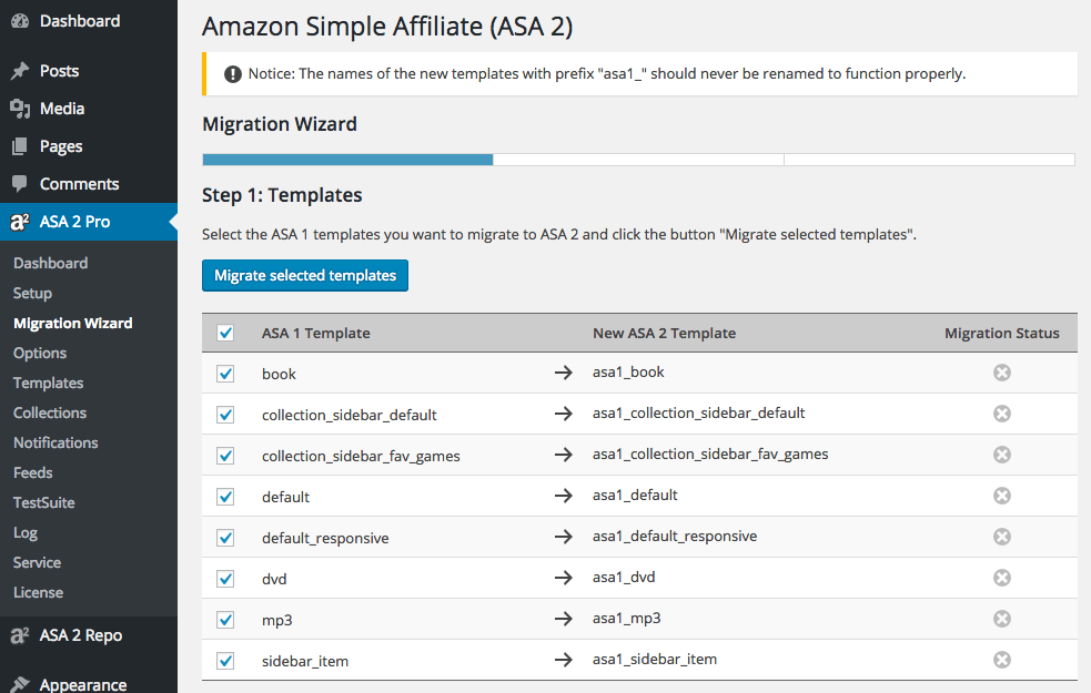 ASA 2 Migration Wizard Templates