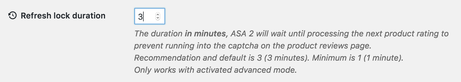ASA 2 advanced ratings refresh lock duration