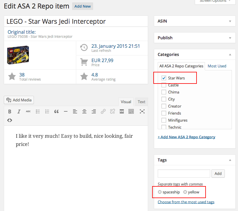 ASA 2 Repo categories and tags