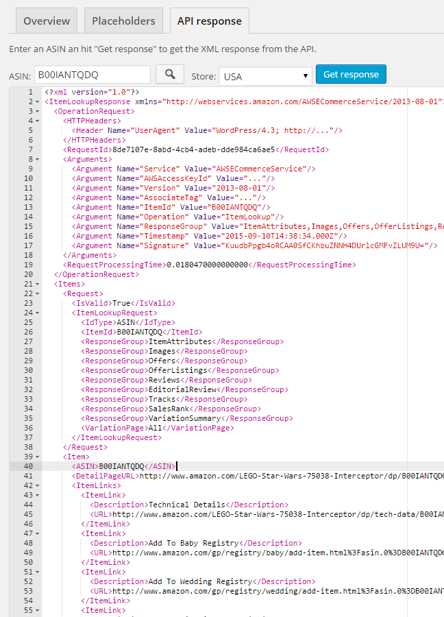 Amazon API XML response