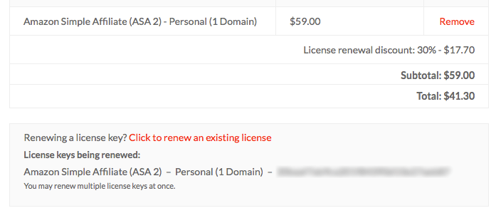 License extend checkout