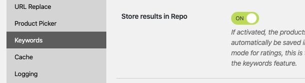 Keywords option Store in Repo