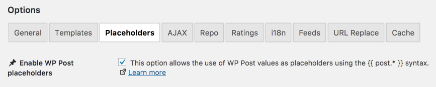 Enable WP Post placeholders